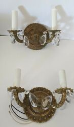 Vintage Double Arm Electric Candle Wall Sconces Crystal Prism Pair Spain