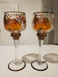 Set Of 2 Yankee Candle Tall Stem Crackle Glass Fall Theme Tealight Votive Holder