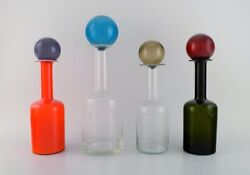 Otto Brauer For Holmegaard. Four Large Vases / Bottles In Mouth-blown Art Glass.