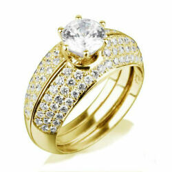 Diamond 2 Bands Set Ring 18 Kt Yellow Gold Vs1 2.05 Carats Round Size 6 7 8