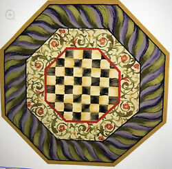 Mackenzie Childs Courtly Check Purple And Green 5' Octagon