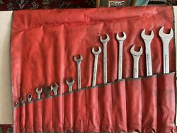 Vintage.snap-on Mechanics Wrench Roll Up Pouch W/14 Wrenches Williams S-k Vlchek