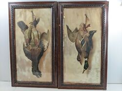 Helena Maguire Hanging Dead Game Duck Fowl Dove Bird Framed Antique Prints