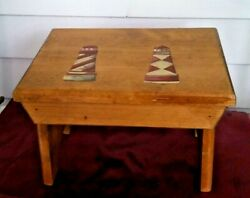 Wooden Foot Stool Child Bed Step Vintage Wood Kitchen Small Non Slip Feet New ..