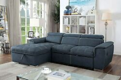 Living Room Sectional Sofa Blue Gray Faux Nubuck Fabric Chaise Loveseat Couch
