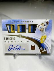 2020 Chronicles Justin Herbert Momentum 3 Color Triple Patch Auto Rc 25/25