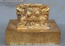 China 24k Gold Gilt Dragon Animal Ancient Dynasty Imperial Seal Stamp Signet