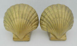 Vintage Heavy Duty Nautical Beach Shell Pmc Brass Bookends Book Ends Library