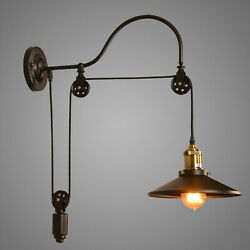 Industrial Wall Mounted Light Sconce Retro Gooseneck Lamp Barn Pulley Fixture Us
