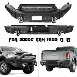 Combo Front And Rear Bumper W/ Winch Plate And Led Lights For Dodge Ram 1500 13-18