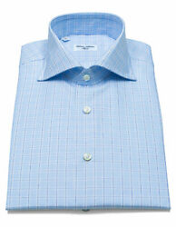 Cesare Attolini Shirt With Light Blue Glencheckmuster And Shark Collar/reg