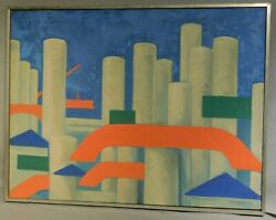 Vintage Modern Precisionist Oil Painting Industrial Abstract Ashforth Colorist