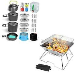 29pcs Camping Cookware Mess Kit And Folding Campfire Grill For Outdoor