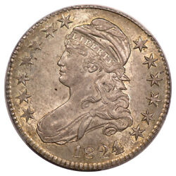 1824 50c Over Various Dates Capped Bust Half Dollar Pcgs Au58 Cac O-103