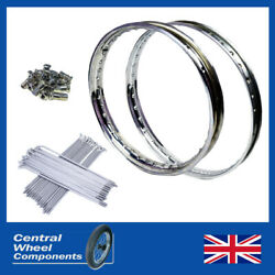 Yamaha Stainless Rim And Spokes Set Dt250 Front 21 Wm1 And Rear 18 Wm2 Drum