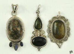 3 Sterling Silver And Genuine Stone Pendants Neat Designs