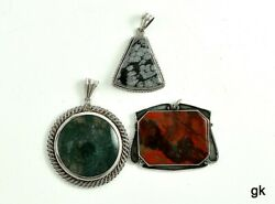3 Genuine Stone And Sterling Silver Pendants Moss Agate Neat Designs