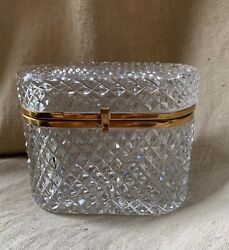 Antique French Baccarat Diamond Cut Crystal Glass Casket Hinged Jewellery Box