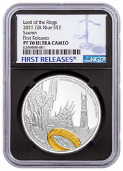 2021 Niue Lord Of The Rings Sauron 1 Oz Silver Gilt Proof 2 Coin Ngc Pf70 Fr Bc