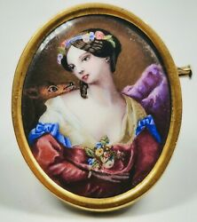 Antique 19th Century Swiss Enamel Victorian Lady And Deer Portrait 14k Gold Pin