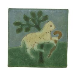 Grueby Pottery Blue Green Yellow Lamb Snake Tree Arts And Crafts Tile