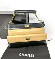 Double Flap Bag Mademoiselle Chocolate Bar Handle Clutch Rare Collection