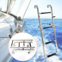 Folding Boarding Ladder Stainless Steel 2+2 Steps Fit For Marine Boat Brand New