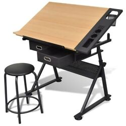 Adjustable Drafting Drawing Table Craft Tiltable Tabletop With Stooland2/3 Drawers