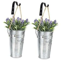 Galvanized Metal Wall Planter Rustic Hanging Country Home Wall Vase for