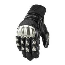Icon Timax Short Motorbike Motorcycle Leather Gloves Black