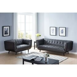 Id Usa 2pcs Sofa And Loveseat Set Synthetic Leather, Grey