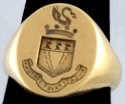 And Co. 14k Solid Yellow Gold Size 7.5 Signet Vintage Mens Ring Royal