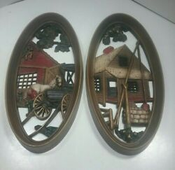 Vintage Burwood Products Company Oval Wall Plaques / Hangings Blacksmith And Well