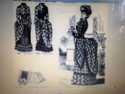 20.5antique French Fashion Lady Doll 1883 Bustle Gown Dress Hat Pattern