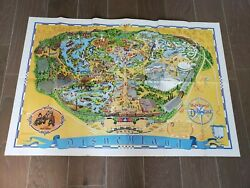 Disneyland Wall Map Walt Disney 30 X 44 Inches Poster Guide 1972