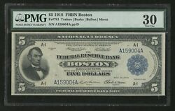 Fr781 5 1918 Frbn Boston Note Pmg 30 Vf Only 37 Known Rare Wlm6768