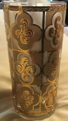 Culver Highball Glass Rare Sallye 22k Frosted/gold Square Design Set Of 8