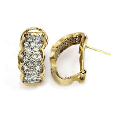 1 Ctw Natural Diamond Solid 14k Yellow Gold Wide Omega Semi Hoop Earrings 19 Mm
