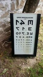 Antique Old Doctor's Board For Diagnostics Of Vision With Lighting