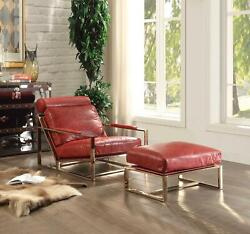29 X 48 X 29 Antique Red Leather Accent Chair