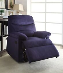 Blue Woven Fabric Upholstered Recliner With Knock Down Back