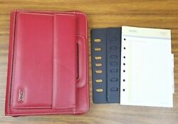 Franklin Covey Classic Day One Zip Planner Binder Faux Leather 7 Rings 1 Red