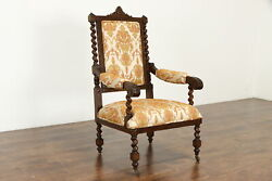 Italian Antique Carved Oak Armchair Spiral Columns New Upholstery 36903