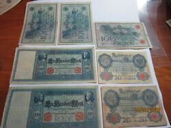 7 - Reichsbanknotes German Bank Notes, 20 And 100 Mark, Various Years