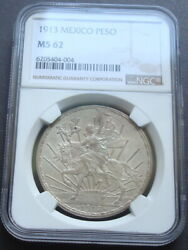 1913 Mexico 1 Peso Silver Beautiful Coin Uncirculated Ngc 62