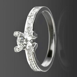 Natural Anniversary Diamond Solitaire And Accents Ring Vs1 D 14k White Gold