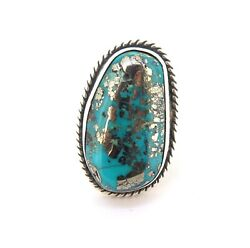 .sterling Silver Persian Turquoise Ring By 'lucky' Southwestern Artist 23.4g