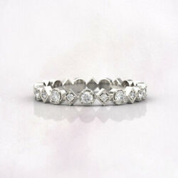 Solid 14k White Gold 2.20 Ct Real Diamond Engagement Eternity Band Size 6 7 8 9
