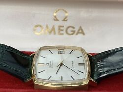 Rare And Stylish Omega Square Cushion 18ct Gold Automatic Gents Vintage 1969 Watch