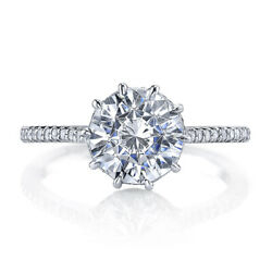 Solitaire Round Cut 1.50 Ct Real Diamond Anniversary Ring 14k White Gold Size 8